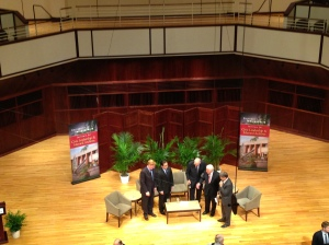 (From left) Joshua Landis, Robert Zarate, Former Rep. Lee Hamilton, Former Sen. Richard Lugar and Doug Bandow talked about Syria for 90 minutes at UIndy. Talk about exhausting.