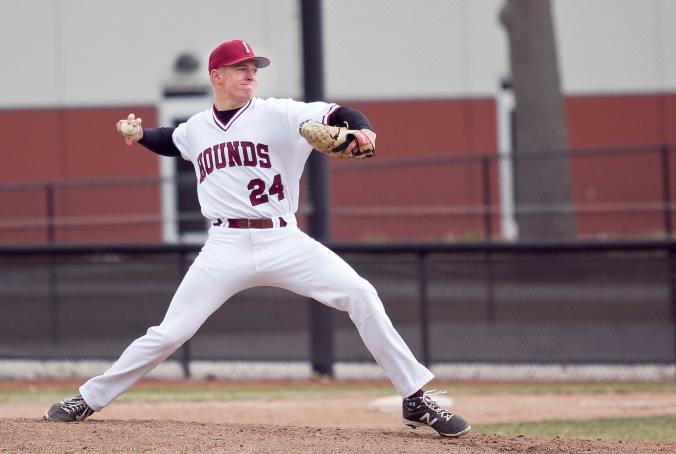 Freshman pitcher Jordan Tackett throws a pitch against the Truman State University Bulldogs on March 22. (James Figy/The Reflector)