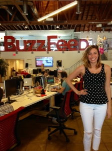 Indian Creek graduate Lara Parker is shown at the Los Angeles office of the popular website BuzzFeed. Parker worked at BuzzFeed as an intern and now has a job as a staff writer for the company. (Courtesy Photo)
