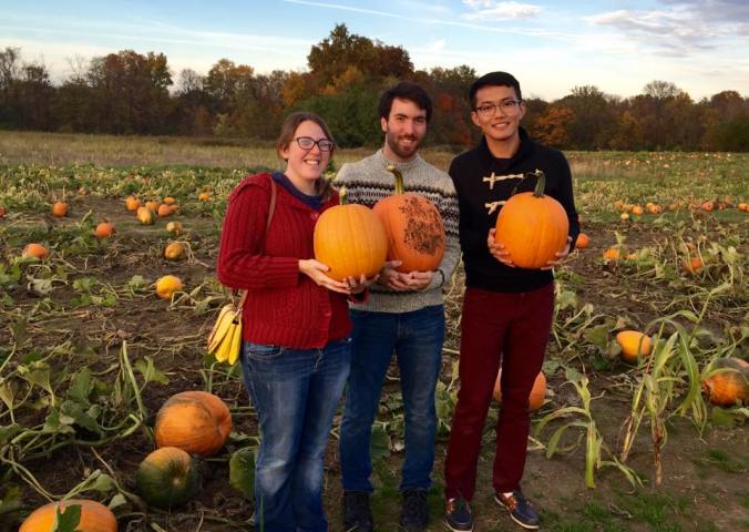 Stephanie, Ben, and I pick out pumpkins at Appleworks.