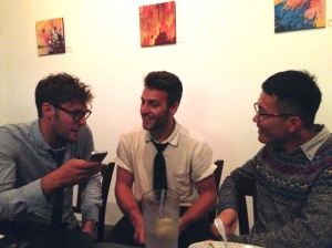 Ben (right) is a very friendly guy. Here he is chatting with The Lumineers' Stelth Ulvang (left).